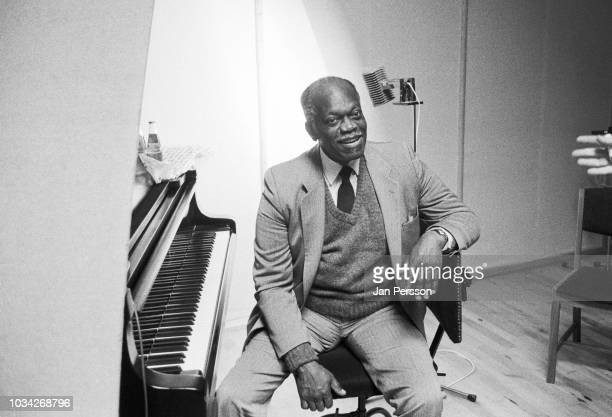 American jazz pianist Hank Jones in the recording studio Copenhagen Denmark 1991