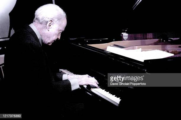 American jazz pianist John Bunch performs live on stage at PizzaExpress Jazz Club in Soho London on 18th December 2002