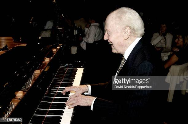 American jazz pianist John Bunch performs live on stage at Ronnie Scott's Jazz Club in Soho London on 10th August 2006
