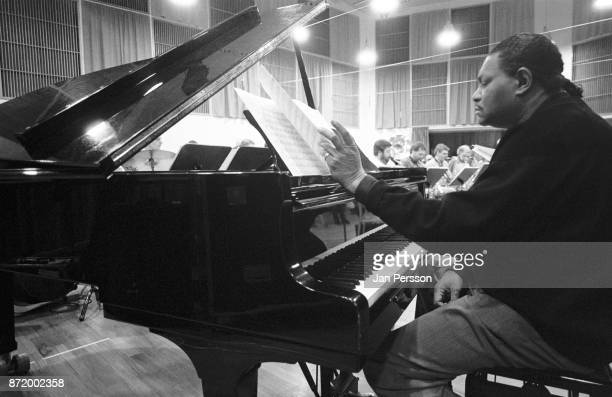 American jazz pianist McCoy Tyner rehearsal with The Danish Radio Big Band at The Radiohouse Copenhagen Denmark March 1993