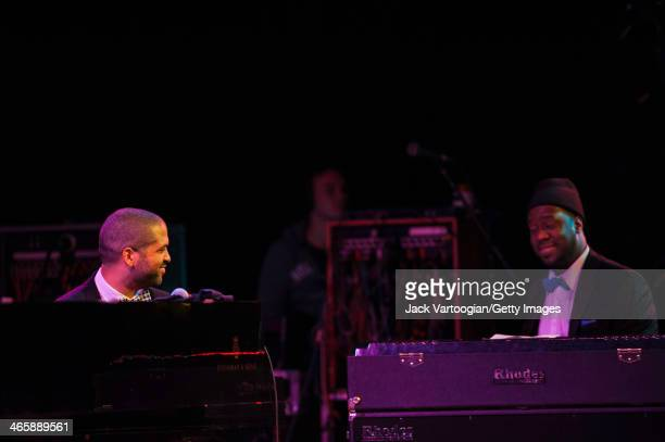 American Jazz pianists Jason Moran and Robert Glasper play dual pianos at the Blue Note Records 75th Anniversary Concert during the 2014 NYC Winter...