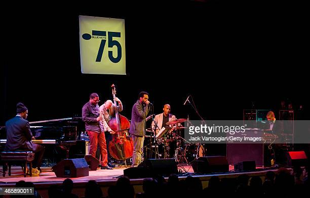 American Jazz pianists Robert Glasper and Jason Moran lead a band at the Blue Note Records 75th Anniversary Concert during the 2014 NYC Winter...