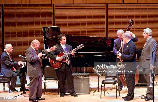 American jazz producer and promotor George Wein introduces the band on stage for 'George Wein and Friends' at Carnegie Hall's 'Just Jazz The Joyce...