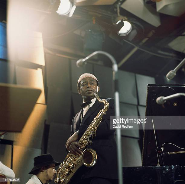 Archie Shepp US jazz saxophonist playing the saxophone during a live concert performance at the Montreux Jazz Festival in Montreux Switzerland 18...