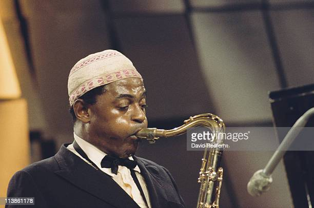 Archie Shepp US jazz saxophonist playing the saxophone during a live concert performance at the Montreux Jazz Festival Montreux Switzerland 18 July...