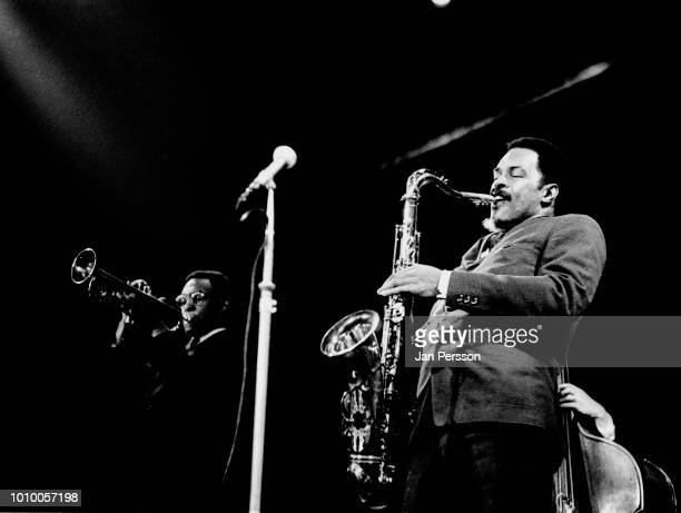 American jazz saxophonist Albert Ayler and brother jazz trumpeter Don Ayler in concert, Copenhagen October 1966.