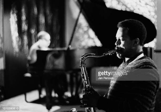 American jazz saxophonist Albert Ayler recording in TV studio Copenhagen 1962.