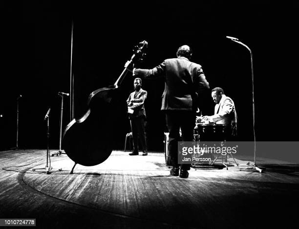 American jazz saxophonist and composer Ornette Coleman performing with bassist David Izenson and drummer Charlie Moffett in Copenhagen Denmark...