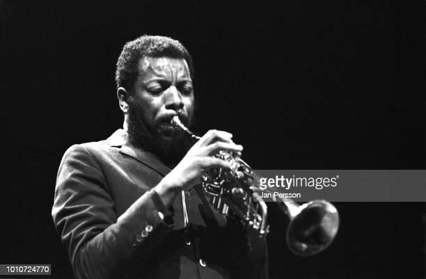 American jazz saxophonist and composer Ornette Coleman playing trumpet in Copenhagen Denmark November 1965
