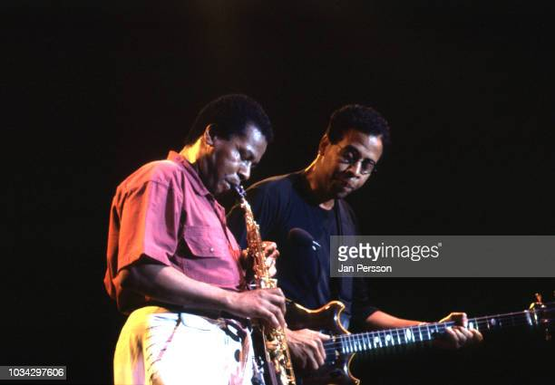 American jazz saxophonist and composer Wayne Shorter and American jazz bassist Stanley Clarke at North Sea Jazz Festival, Netherlands, July 1991.