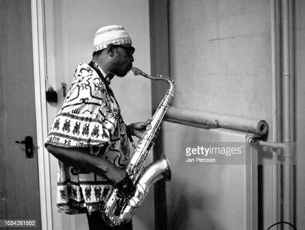 American jazz saxophonist Archie Shepp backstage Copenhagen Denmark October 1967