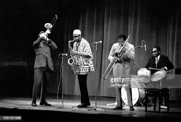 American jazz saxophonist Archie Shepp Quintet in concert Copenhagen Denmark November 1967 From left Roswell Rudd Archie Shepp Graham Moncur lll and...