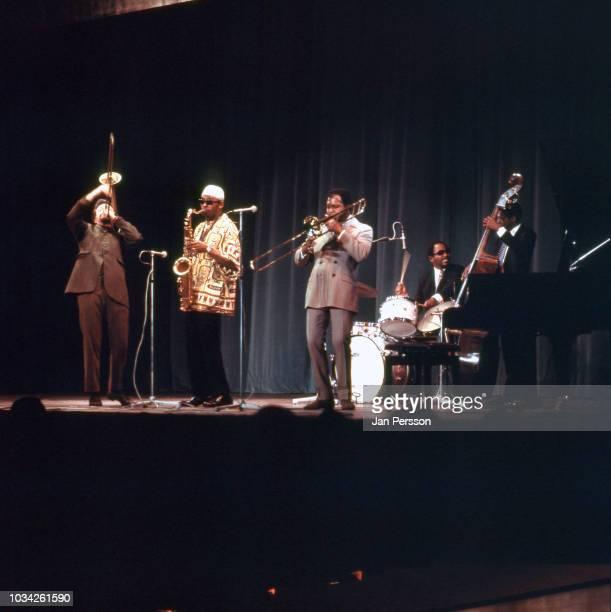 American jazz saxophonist Archie Shepp Quintet with Roswell Rudd Archie Shepp Graham Moncur Beaver Harris and Jimmy Garrison Copenhagen Denmark...