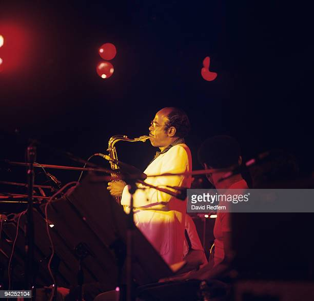 American jazz saxophonist Benny Golson performs on stage at the Grosvenor House Hotel in London England in September 1977