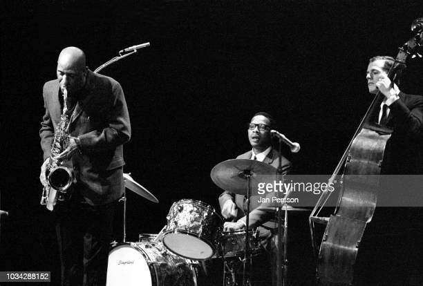 American jazz saxophonist composer and bandleader Sonny Rollins performing with American jazz drummer Alan Dawson and Danish jazz double bassist...