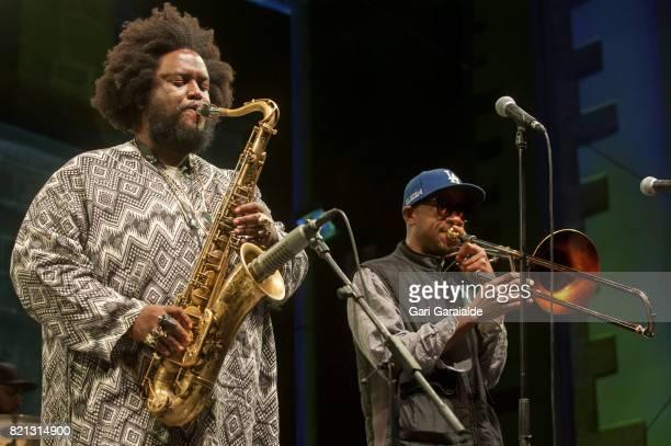 American Jazz saxophonist Kamasi Washington and Trombonist Ryan Porter perform onstage during 52nd edition of Heineken Jazzaldia Festival on July 23...