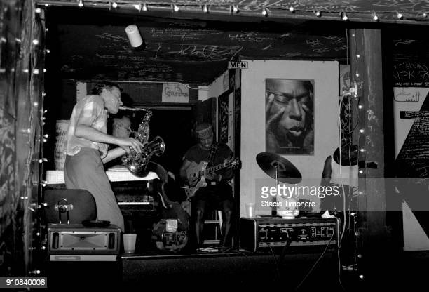 American jazz saxophonist Lin Halliday performing onstage at the Get Me High Lounge in Chicago Illinois 20th July 1990