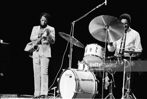 American jazz saxophonist Ornette Coleman and American jazz drummer Ed Blackwell performing in Copenhagen Denmark October 1971