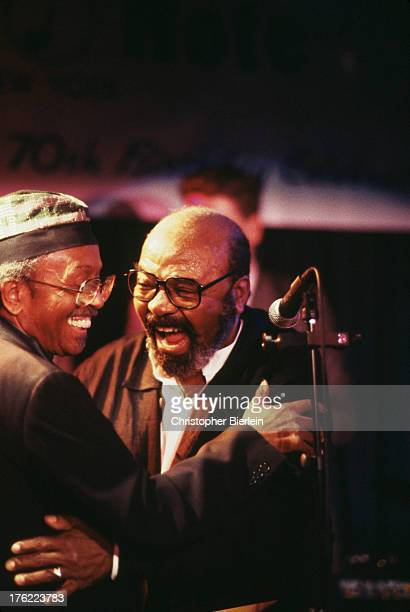 American jazz saxophonists Jimmy Heath and James Moody at a 70th birthday tribute show for Moody at the Blue Note Jazz Club in Greenwich Village New...
