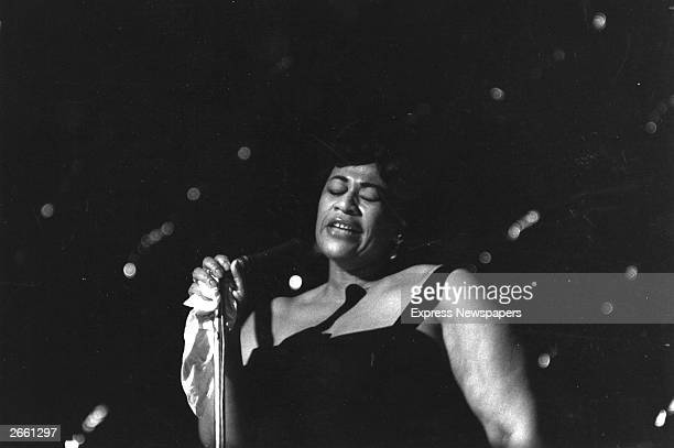 American jazz scat singer Ella Fitzgerald singing at London's Hammersmith Odeon