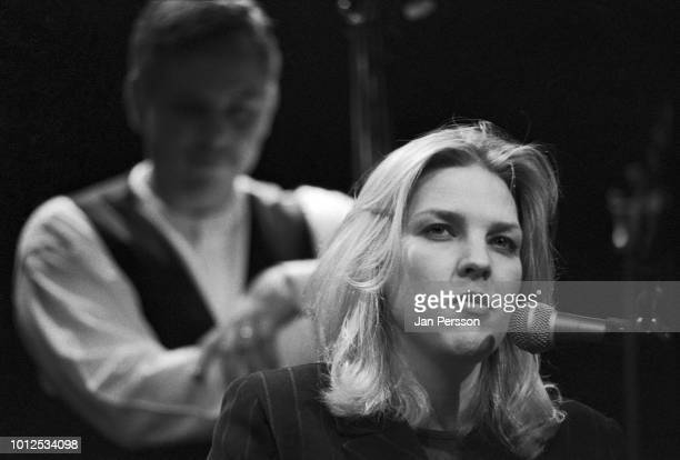 American jazz singer and pianist Diana Krall performing with bass player Paul Keller at Copenhagen Jazzhus Denmark April 1996