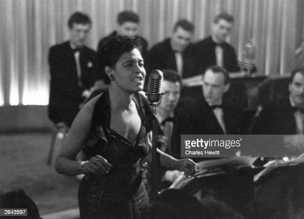 American jazz singer Billie Holiday also known as 'Lady Day' during a performance Original Publication Picture Post 7380 Billie Holiday unpub