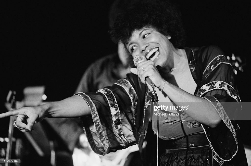 American jazz singer Dee Dee Bridgewater performing on stage, USA, April 1978.