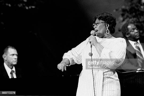 American Jazz singer Ella Fitzgerald performs during an episode of the PBS television series 'Soundstage' Chicago Illinois November 20 1979