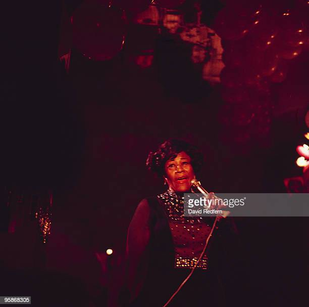 American jazz singer Ella Fitzgerald performs on stage at Annabel's club in London England in 1971