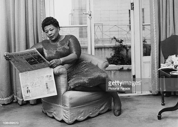 American jazz singer Ella Fitzgerald relaxing in a London hotel room 6th March 1961