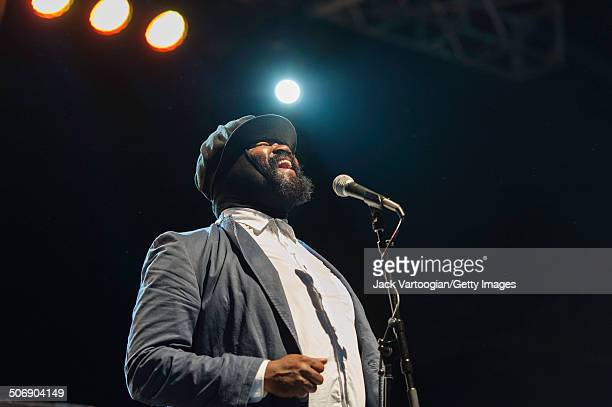 American Jazz singer Gregory Porter leads his quartet as they perform with the Revive Big Band at a dual celebration of Blue Note's 75th anniversary...