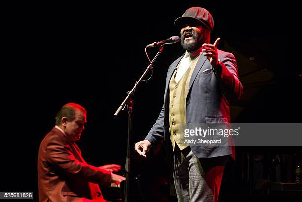 American Jazz singer Gregory Porter performs on stage with pianist Chip Crawford at Eventim Apollo on April 28 2016 in London England