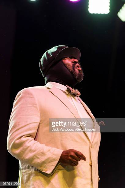 American jazz singer Gregory Porter performs with his Septet at a concert in the Blue Note Jazz Festival at Central Park SummerStage New York New...