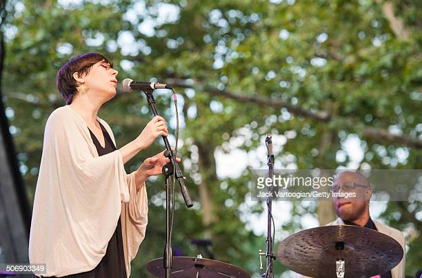 American Jazz singer Gretchen Parlato, with drummer Otis Brown III and his quintet, performs at a dual celebration of Blue Note's 75th anniversary...