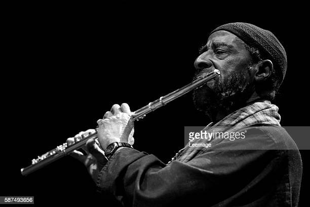 American jazz tenor saxophonist flautist and composer Yusef Lateef on stage during the jazz festival at the Grande halle de la Villette