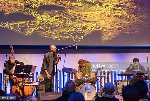 American Jazz trio 1032K perform onstage during at the David Rubenstein Atrium at Lincoln Center New York New York February 26 2015 Pictured are...