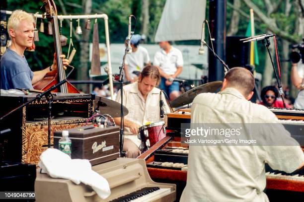American Jazz trio Medeski Martin and Wood perform at Central Park SummerStage New York New York June 21 1997 Pictured are from left Chris Wood on...
