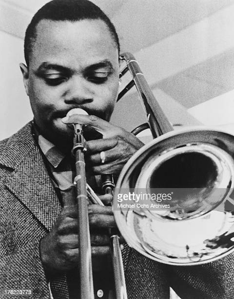 American jazz trombonist J J Johnson performing circa 1955
