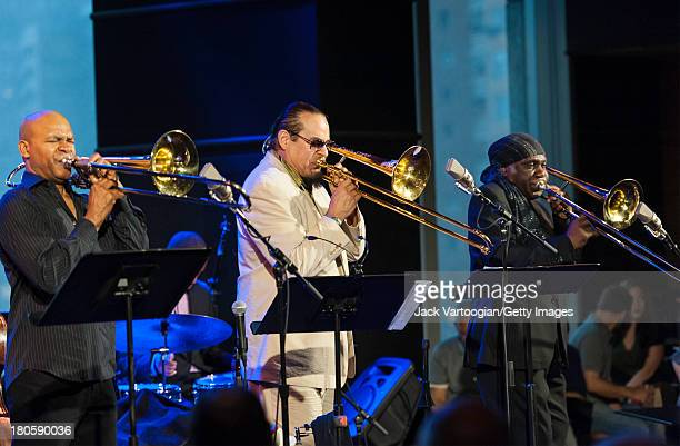 American Jazz trombonist Steve Turre leads his Bones of Art band with Robin Eubanks and Ku-umba Steve Lacy also on trombones at Dizzy's Club...