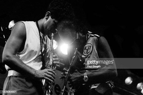 American jazz trumpet player Miles Davis and saxophone player Bob Berg perform at North Sea Jazz festival, The Hague, Netherlands, 13 July 1985.