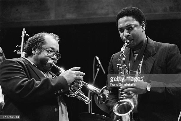 American jazz trumpet player Nat Adderley performs live on stage with sax player Vincent Herring at the BIM Huis in Amsterdam, Netherlands on 26th...