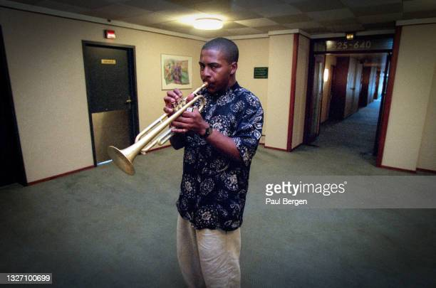 American jazz trumpet player Roy Hargrove practises in the lobby of hotel Bel Air, The Hague, Netherlands, 14 July 1995.