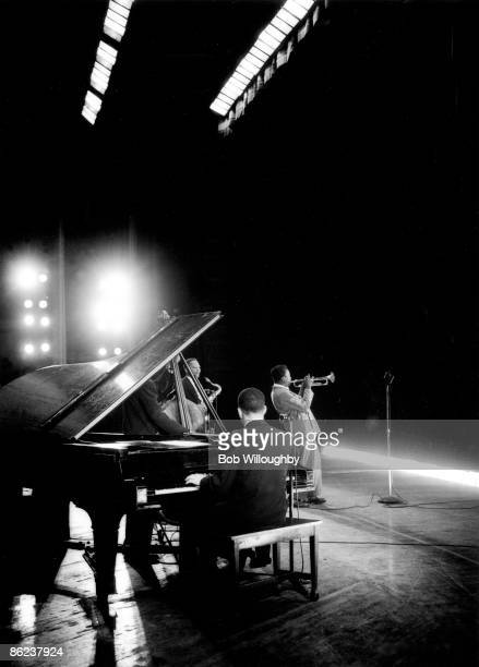 American jazz trumpeter and composer Miles Davis performing at promoter Gene Norman's 'Just Jazz' Concert, at the Shrine Auditorium, Los Angeles,...