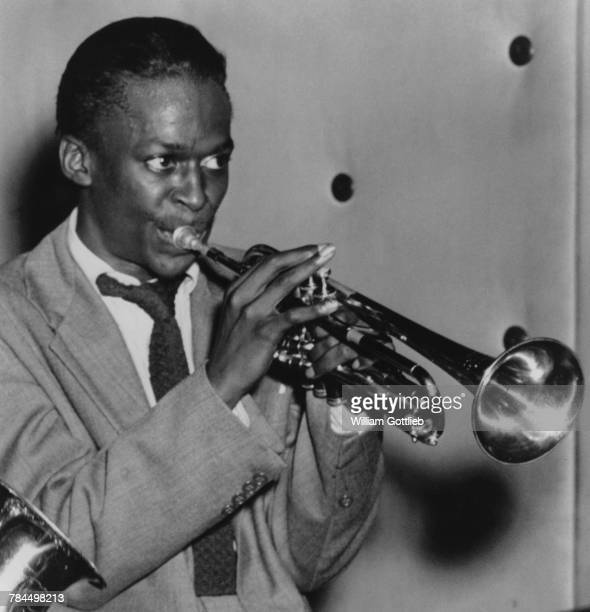 American jazz trumpeter and composer Miles Davis performing with the Charlie Parker Quintet at the Three Deuces New York City circa August 1947