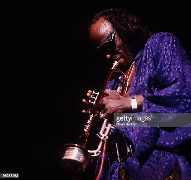 American trumpeter Miles Davis performs on stage in 1986