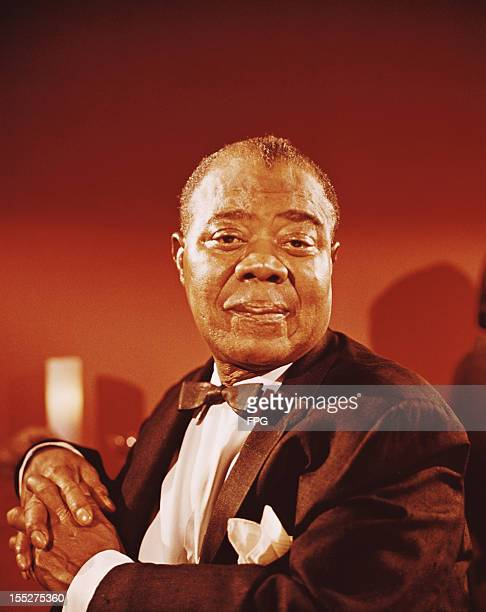 American jazz trumpeter and singer Louis Armstrong circa 1955