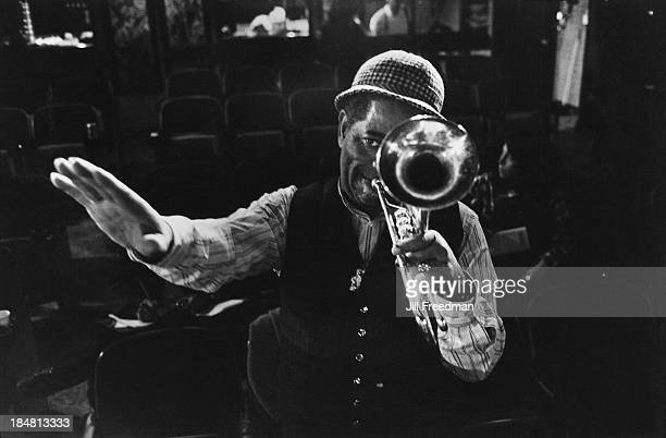 American jazz trumpeter bandleader and composer Dizzy Gillespie during rehearsals for 'Dizzy Gillespie Dream Band Jazz America' New York City 1981