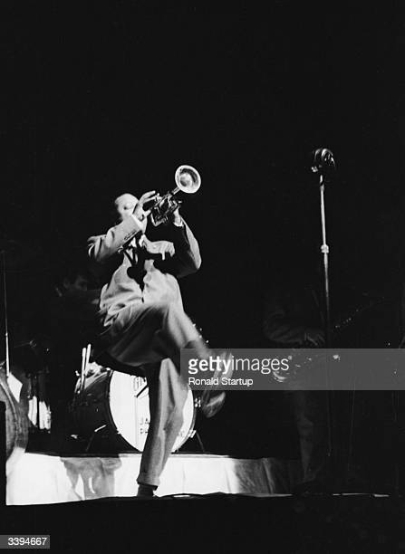 American jazz trumpeter Charlie Shavers playing with members of Cab Calloway's former band during a 'Jazz at the Philharmonic' concert August 1953...