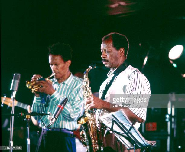 American jazz trumpeter Don Cherry and American jazz saxophonist Ornette Coleman performing at Jazzhouse Montmartre Copenhagen Denmark July 1987