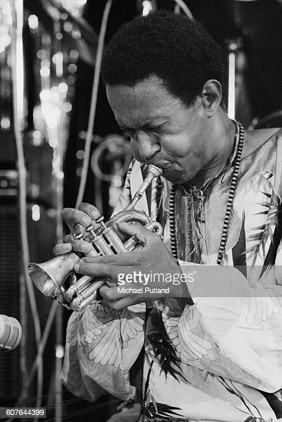 American jazz trumpeter Don Cherry playing a pocket cornet at the Montreux Jazz Festival Montreux Switzerland 8th July 1977